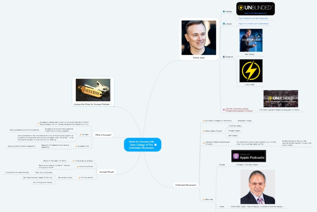 Rules for Success with Sean Callagy Mindmap